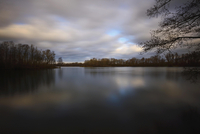 Lake with trees and a cloudy sky, Alpen, Lower Rhine