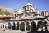Courtyard with abbey church, Rila Monastery, UNESCO World