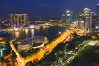 Marina Bay, at night, Singapore, Asia 11102000653| 写真素材・ストックフォト・画像・イラスト素材|アマナイメージズ