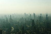 View from Jin Mao Tower to skyscrapers in haze, Huangpu 11102001238| 写真素材・ストックフォト・画像・イラスト素材|アマナイメージズ