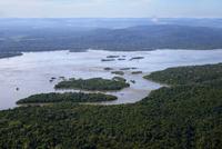 Aerial view, river Rio Tapajos and Amazon rainforest