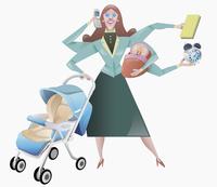 Woman juggling domestic obligations 11103000085| 写真素材・ストックフォト・画像・イラスト素材|アマナイメージズ