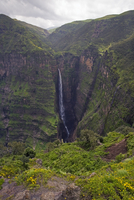 Dramatic waterfall near Sankaber, Simien Mountains National Park, The Ethiopian Highlands, Ethiopia