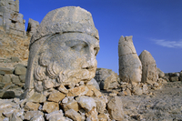 Ancient carved heads of gods on summit of Mount Nemrut, Nemrut Dagi (Nemrut Dag), Anatolia, Turkey Minor