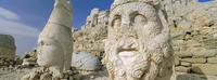 Ancient carved stone heads, Nemrut Dagi (Nemrut Dag), on summit of Mount Nemrut, Anatolia, Turkey Minor