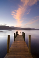 Jetty and Derwentwater at sunset, near Keswick, Lake District National Park, Cumbria