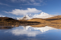 Black Mount Hills covered in snow on a sunny winter's day with reflections in a frozen Lochain, Rannoch Moor