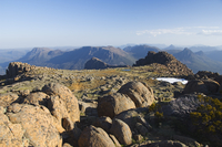 View from the top of Mount Ossa, 1617m, Tasmania's highest mountain on the Overland Track, Cradle Mountain Lake St. Clair Nation