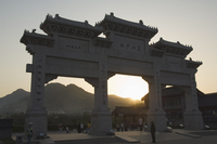 Sunset at the entrance gate to Shaolin temple, birthplace of Kung Fu martial art, Shaolin, Henan Province