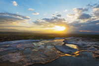 White travertine basins at sunset, Pamukkale, Anatolia, Turkey Minor, Eurasia