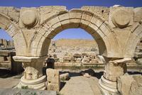 Arches, Severan Forum, archaeological site of Leptis Magna, Tripolitania, Libya