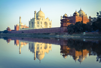 The Taj Mahal reflected in the Yamuna River, Agra, Uttar Pradesh