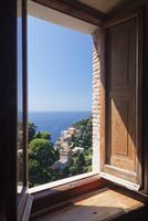 View from Castello Brown Castle to Chiesa San Giorgio church, Portofino, Riviera di Levante, Province of Genoa, Liguria