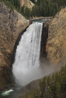 Elevated view of Lower Falls and viewing platform with visitors, Yellowstone National Park