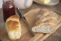 Bread and jam on dining table