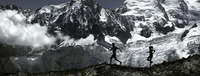 Two people running at Mont Blanc in Chamonix, France
