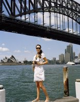 Young woman at Sydney Harbour in Sydney, Australia