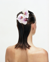Young woman with orchids in hair 11107003974| 写真素材・ストックフォト・画像・イラスト素材|アマナイメージズ