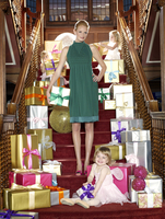 Mother and daughters on staircase with gifts