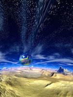 惑星から見た地球と星雲 CG