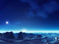 惑星の地表と銀河 CG
