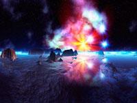 惑星と七色の星雲 CG