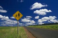 交通標識と青空