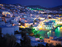 ミコノス港の夕景