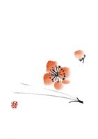 松葉と梅の花