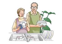 料理をする老夫婦