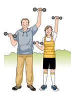 運動をする夫婦 28144084609| 写真素材・ストックフォト・画像・イラスト素材|アマナイメージズ