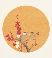 紅梅とスズメ イラスト