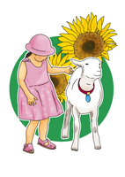 女の子とヤギ 28144091938| 写真素材・ストックフォト・画像・イラスト素材|アマナイメージズ