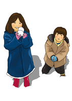雪で遊ぶ子供