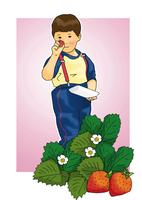 イチゴ狩りをする子供