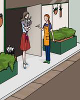 花屋と女性