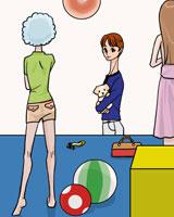 人形を眺める女性