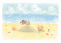 砂浜で遊ぶ子供 イラスト