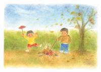 子供と焼き芋 イラスト