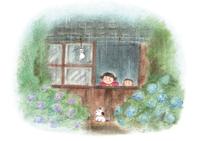 雨降りと子供 イラスト 28144095417| 写真素材・ストックフォト・画像・イラスト素材|アマナイメージズ