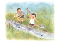 ザリガニ釣り イラスト