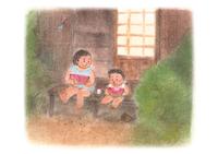 スイカを食べる子供 イラスト 28144095453  写真素材・ストックフォト・画像・イラスト素材 アマナイメージズ