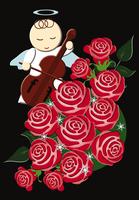 天使とバラのクリスマスイメージ イラスト