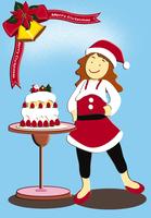 サンタとケーキのクリスマスイメージ イラスト