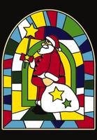 サンタクロースのステンドグラス イラスト
