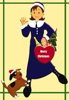 女性と犬のクリスマスイメージ イラスト