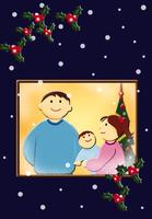 家族のクリスマスイメージ イラスト