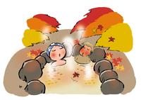 紅葉の露天風呂 イラスト 28144095962| 写真素材・ストックフォト・画像・イラスト素材|アマナイメージズ