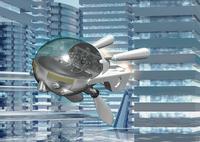 未来都市と乗物のCGイメージ