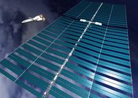 ソーラーパネルと宇宙船のCGイメージ